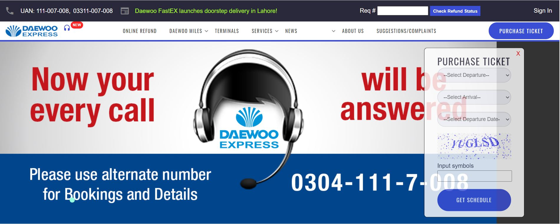 daewoo express online booking website