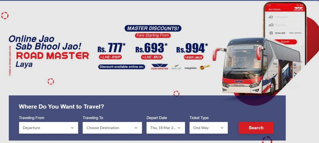 road master online ticket bookings from website