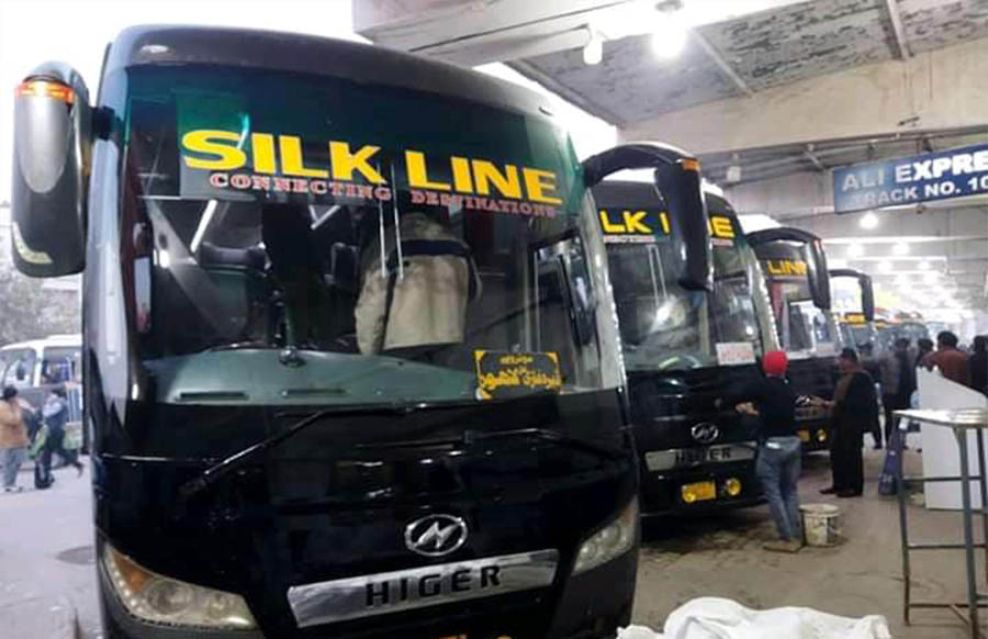 silk line higer bus at city terminal lahore