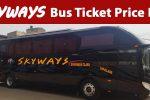 Skyways Bus Ticket Price List for lahore, islamabad, karachi, multan